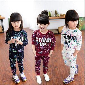 2PCS-Kids-Baby-Girls-Autumn-Tracksuit-Clothes-Sweatshirt-Tops-Pants-Outfits-Sets