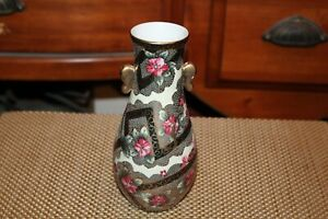 Vintage-Nippon-Hand-Painted-Porcelain-Vase-Beaded-Flowers-Colorful-Vase