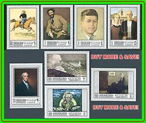SHARJAH-AMERICAN-PAINTINGS-MNH-KENNEDY-ROCKWELL-HOMER-HORSES-L-2