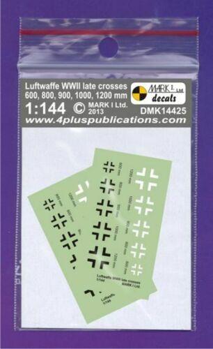 MARK 1 WW2 Luftwaffe Late Crosses Various #DMK14425 1//144 Decals