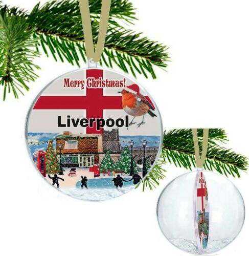Liverpool England Large Christmas Village Scene Bauble with Glitter Snowflakes