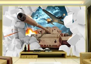 3D Tank Aircraft Paper Wall Print Wall Decal Wall Deco Indoor Murals