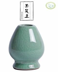 Celadon-Matcha-Whisk-Stand-Kusenaoshi-Chasen-Shaper-Holder-Green