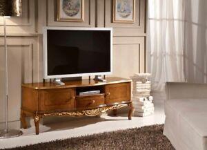 Porta Tv Foglia Oro.Mobile Basso Porta Tv In Legno Noce E Decori In Foglia Oro Arredo