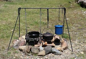 Large Folding Dutch Oven Campfire Cook Set Bbq Cooking