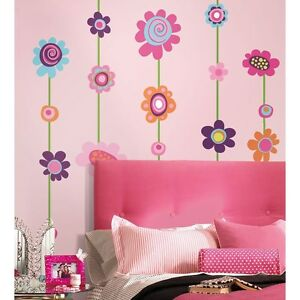 Image is loading FLOWERS-STRIPE-53-Removable-Wall-Stickers-VINE-BORDER- & FLOWERS STRIPE 53 Removable Wall Stickers VINE BORDER Decals Girls ...
