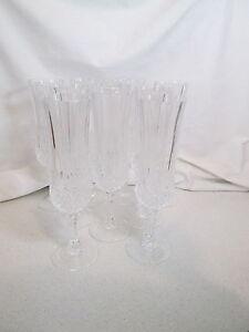 "Set of 9 Cristal D'Arques Longchamp 8"" Crystal Champagne Flutes Goblets Glasses"