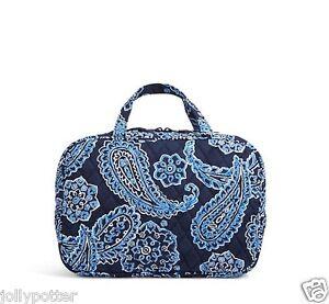 vera bradley grand cosmetic blue bandana makeup bag purse