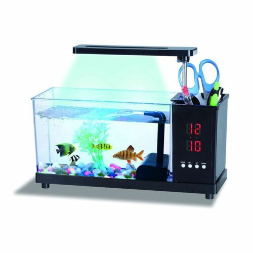 USB Desktop Mini Fish Tank Water Running Pump Colorful Light Aquarium Alarm