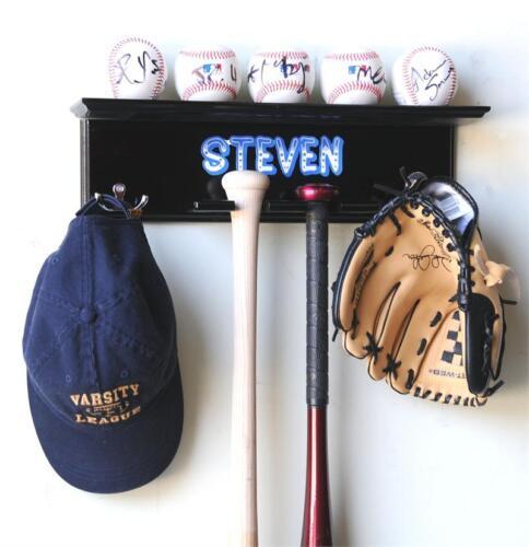 2 Bats and Glove Display Rack Cabinet Wall Rack Holder 5 Baseballs Cap