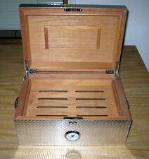 Cigar Humidor Pig Iron Diamond Plate Finish Industrial Look 100 ct. Cedar Inside