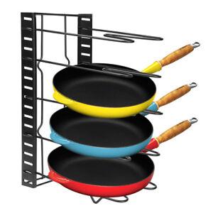 Kitchen Storage Rack Pan Pot Lid Organizer Shelves Holder Stand Foldable Black