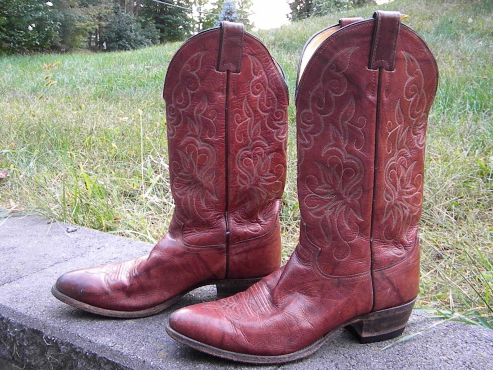1980 rot braun Cowboy Style Pull-On Stiefel for Men by Justin  (Preowned)