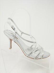 M Heels Silver Strappy Sandal Pumps | eBay