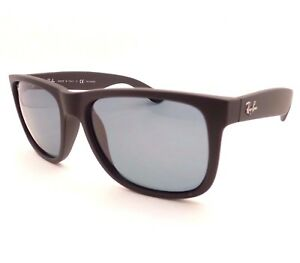 b3d09a28a7e AUTHENTIC Ray Ban Justin RB 4165 622 2V Matte Black Rubber Blue ...