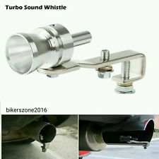 Silver Powerful Turbo Sound Whistle Motorcycle Car Pipe Silencer Exhaust Size L