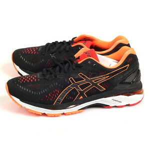 watch 730b8 0fc06 Details about Asics GEL-Kayano 23 Black/Hot Orange/Vermilion Support  Running Shoes T646N-9030