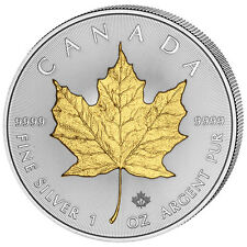 1 Ounce Silver Maple Leaf 2017 Canada partly gold plated gilded