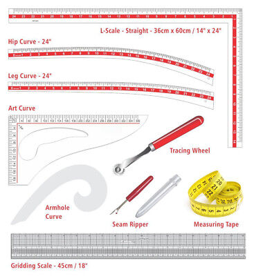 Fashion Sewing Kit French Curve Armhole Hip Leg Seam Ripper Dressmaking Ruler