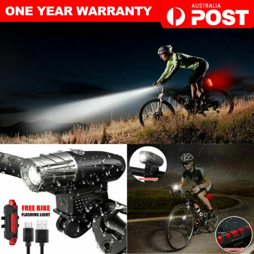 Rechargeable LED Bicycle Light USB Waterproof Cycle Front Back Headlight HS