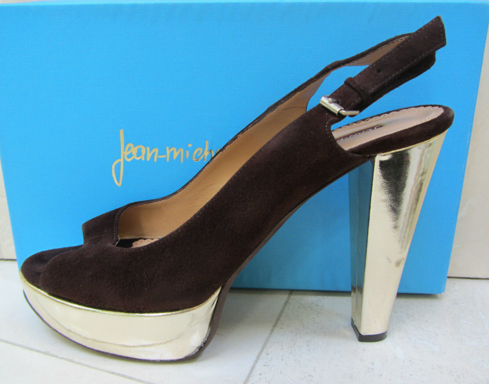 JEAN-MICHEL CAZABAT MARILYN marron or Platform Slingback Sandals chaussures 39.5