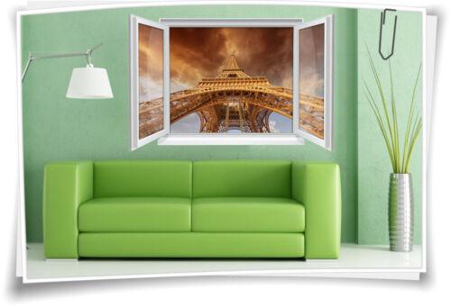 3D Fenster Wandbild Wandtattoo Aufkleber Paris Eiffelturm Wohnzimmer Deko