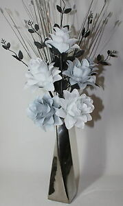 Artificial silk flower arrangement white grey flowers in silver image is loading artificial silk flower arrangement white grey flowers in mightylinksfo