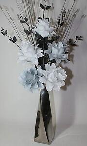 Artificial Silk Flower Arrangement White Grey Flowers In Silver Twist