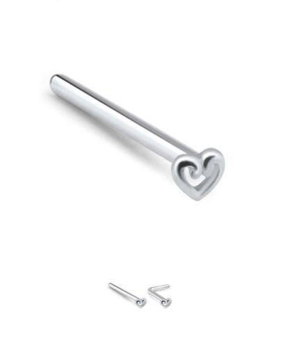 316L Surgical Steel Nose Ring Straight Stud LBend Heart 20 Gauge 20G
