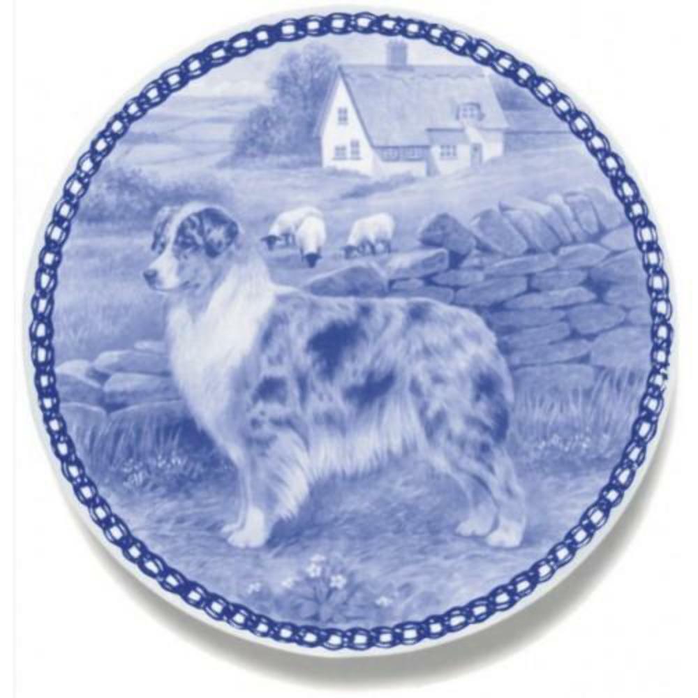 Australian Shepherd Dog  Dog Plate made in Denmark from the finest European Por