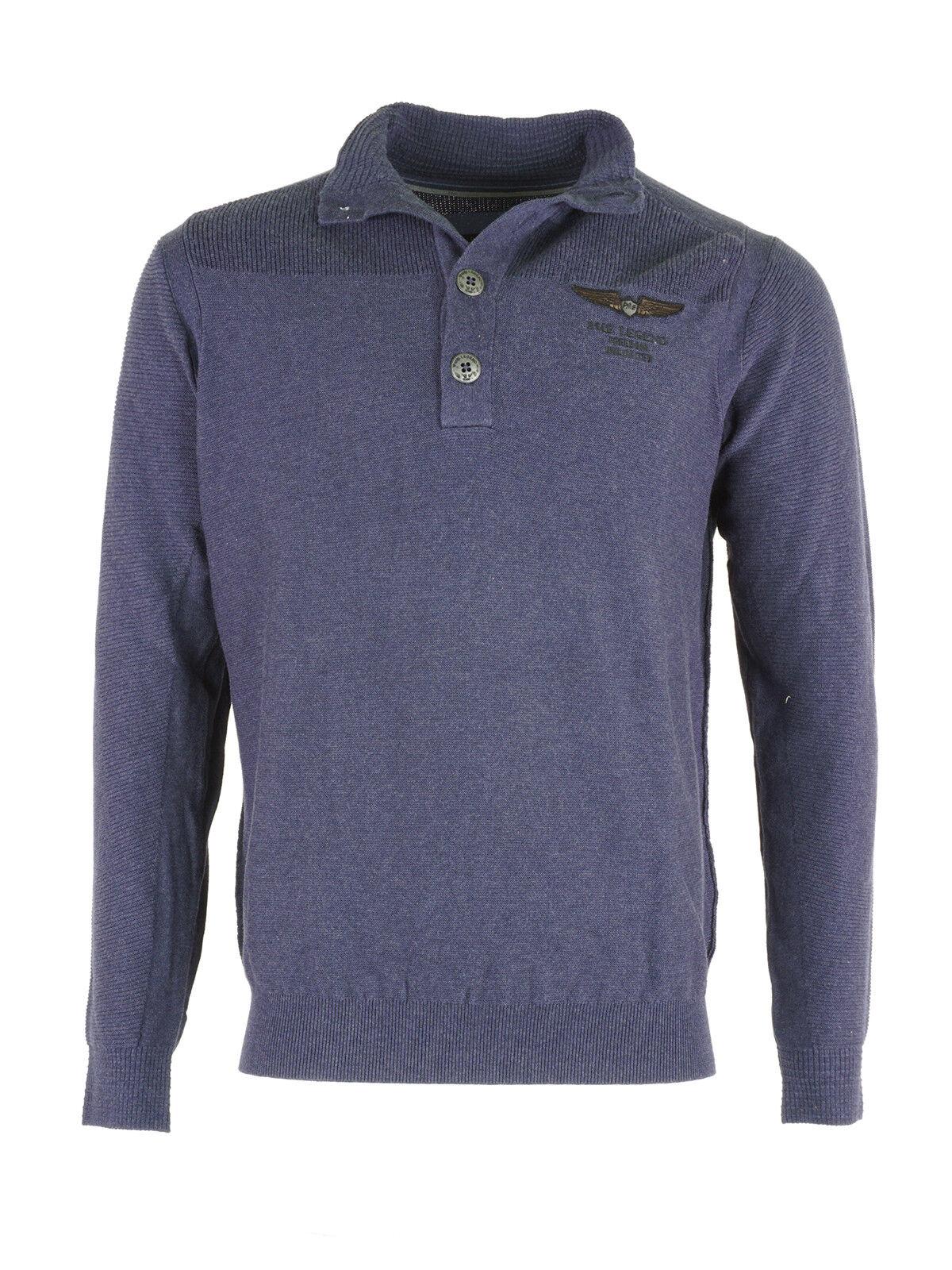PME Legend Uomo Lavorazione Lavorazione Uomo a Maglia Pullover Sweater Knitwear Cotone Blu Blu Scuro 702516