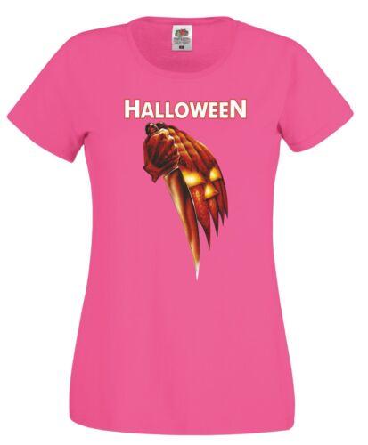 Halloween Movie T Shirt Scary Horror Pumpkin Michael Myers Joke Gift Women Top
