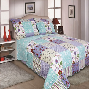 DOUBLE SIZE VINTAGE LILY PATCHWORK  REVERSIBLE QUILTED BEDSPREAD THROW ONLY