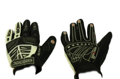 CARNAC MTB FORCE 250 Full Finger Gants Gel Pads Fermeture Magnétique Blanc