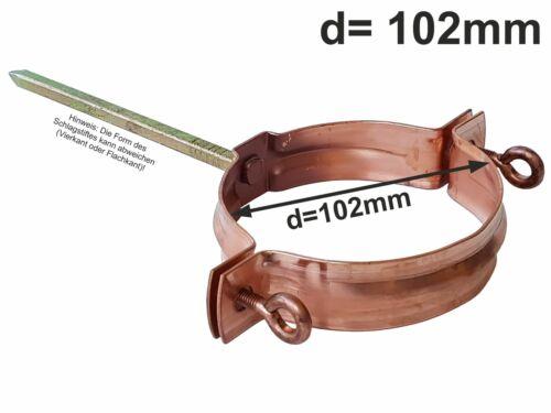 Kupfer Standrohrschelle mit 140mm Schlagstift d=100mm