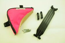 TRIANGLE TOOL BIKE FRAME BAG POUCH + SHOULDER STRAP CARRY YOUR BIKE NEON PINK