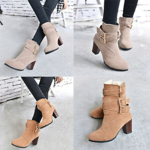 Fashion-Women-039-s-Buckle-Winter-Thick-Platform-High-Heel-Zipper-Ankle-Boots