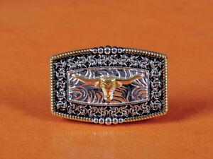 5PCS-45-30mm-DIY-Texas-Cowboy-Gold-Silver-Longhorn-Bull-Floral-Rope-Side-CONCHOS