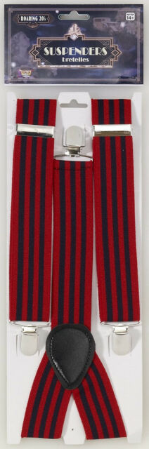 Roaring 20's Suspenders Striped Fancy Dress Halloween Costume Accessory 2 COLORS