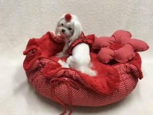 Lit pour chien fleur rouge, chiens dormant édition limitée à la main