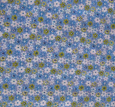 Blue Floral 100/% Cotton Prints Vintage Dress Craft Fabric 160cm Wide