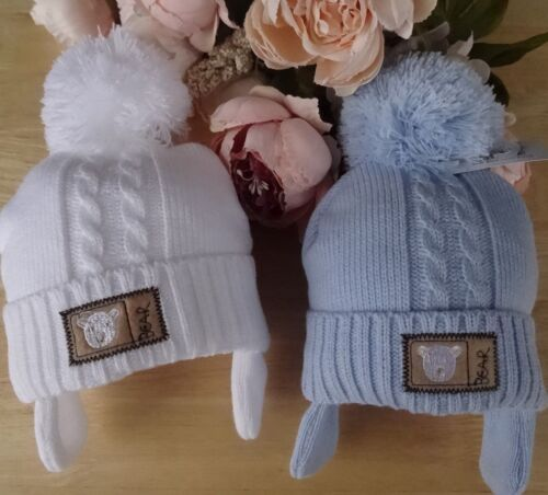 Baby Boys Blue White Cable Knit Pom-Pom Pull On Beanie Hat Fleece Lined 0-3-6m