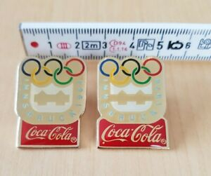 Coca Cola, Coke, Innsbruck 1964 + 1976 Pins, IOC 1990, Olympia, set of 2
