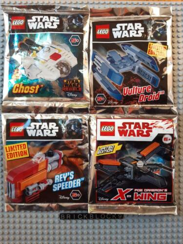 X-Wing Reys NEW LEGO Lot 4x Polybag //Foil Pack STAR WARS Ghost Vulture