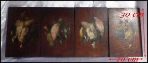 """""""oiseaux"""" Suite De 4 Peintures Sur Panneau """"gibier"""" Natures Mortes Aux Oiseaux"""