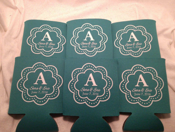 Monogram Wedding Koozies Design 1188 1 to 300 Personalized can party favors