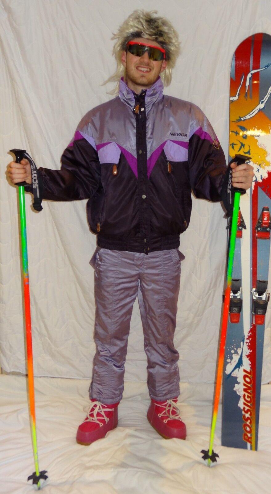 Retro Vintage 80's 90's Ski Suit STAG Neon Apres Ski NEVICA purpleC 2 PIECE SUIT