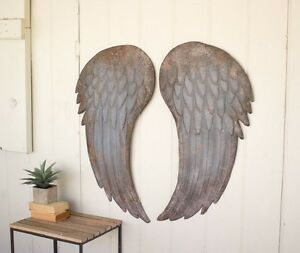 Image Is Loading Large Metal Angel Wings Wall Art Decor Shabby