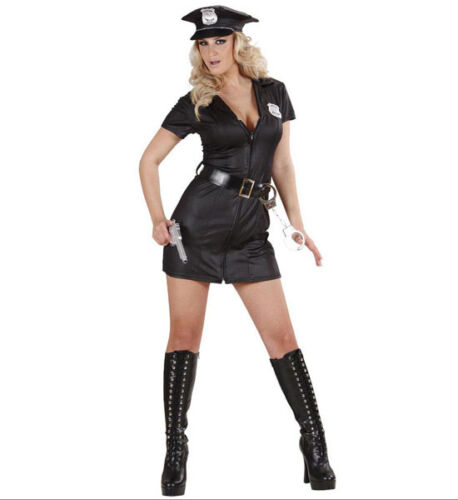 POLICE OFFICER WOMAN GIRL COSTUME OUTFIT COP BLACK FEMALE DRESS