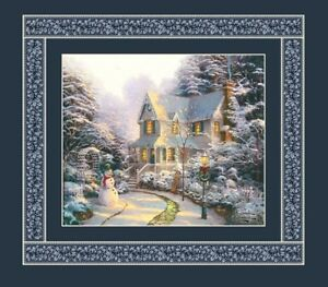 Thomas-Kinkade-Christmas-Winter-Holiday-House-Panel-Quilt-Fabric-18-034-x-19-034